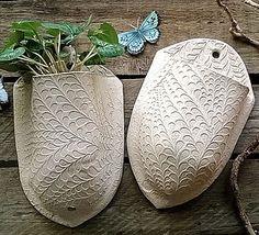 Leaf Stem Stoneware Plant Pocket - pots