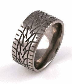 Mens Sterling Silver Oxide Ring Harley Davidson Piston