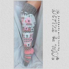 Knit socks with flower knee socks house socks woman knit Knitting Socks, Hand Knitting, Knitting Ideas, Knee Socks, High Socks, Soft And Gentle, Colorful Socks, Beautiful Legs, Crochet Flowers
