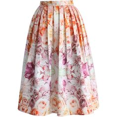 Chicwish Flowers Whisper Pleated Midi Skirt found on Polyvore featuring polyvore, fashion, clothing, skirts, multi, midi skirt, floral midi skirt, pleated midi skirt, pastel skirt and flower print skirt