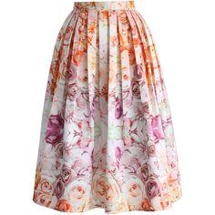 Chicwish Flowers Whisper Pleated Midi Skirt (155 BRL) ❤ liked on Polyvore featuring skirts, bottoms, saias, юбки, multi, floral midi skirt, mid-calf skirt, pastel midi skirt, pleated midi skirt and flower print skirt