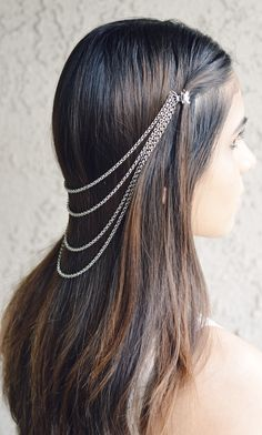 hair clip and chain... love the cascade the multi-stand chain creates. .