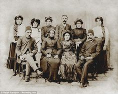 Kim Kardashian's great great grandparents Hovhannes Miroyan (left, front row) and Luciag Chorbajian (second from left, front row) fled Armenia in the early 1900s with their daughter Vartanoosh Miroyan (second from right in back row)