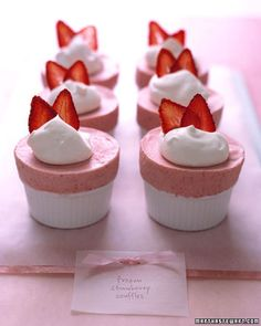frozen strawberry souffle desserts for bridal shower