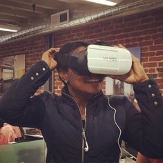 An awesome Virtual Reality pic! Karla checking out our new virtual reality technology... Thanks Ani! #virtualreality #digital #architect #spaceage #goggles #cool #design #vr #architecture by quezada_architecture check us out: http://bit.ly/1KyLetq