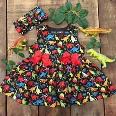 UK NEW Summer Toddler Kid Baby Girl Dress Dinosaur Party Pageant Dress Sundress