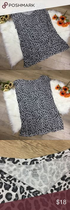 Lane Bryant heather fray cheetah animal print top Heather gray wide tank top short shirt sleeve top from lane bryant with cheetah print. Size 22/24. Good condition but has some pilling and fabric is fading. Elastic waistband/underbust. Open to offers or bundle with any other item to save 20%! Lane Bryant Tops Tank Tops