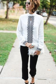 ONE little MOMMA: Dressy. black pants, blouse, cropped flares, fur, fur clutch, heels