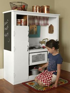 Create a Play Kitchen from a Broken Entertainment Center