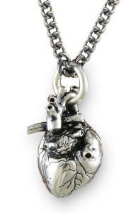 "Anatomical 3d Human Heart Antique Silver Necklace Gothic 32"" Chain - http://www.wonderfulworldofjewelry.com/jewelry/necklaces/anatomical-3d-human-heart-antique-silver-necklace-gothic-32-chain-com/ - Your First Choice for Jewelry and Jewellery Accessories"