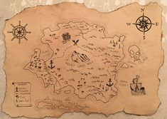 Tutorial: Steps for creating an old scroll or antique looking paper and drawing a treasure or pirate map. Bonus: how to draw a world map. Treasure Maps For Kids, Treasure Chest Craft, Pirate Treasure Maps, Pirate Maps, Treasure Map Drawing, Pirate Map Tattoo, Fantasy Map Making, Name Drawings, Map Sketch