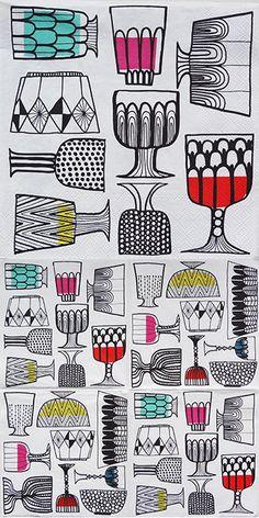 ペーパーナプキン(25)marimekkoマリメッコ:(5枚)【4】Kippis キッピス(25) Nordic Design, Marimekko, Everyday Objects, Peanuts, Creative Art, Tea Pots, Textiles, Design Ideas, Wallpapers