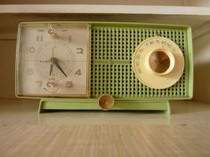 green vintage clock radio