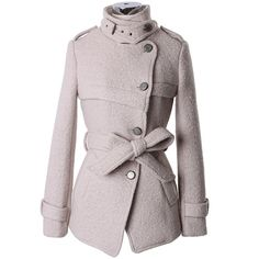 Military Style Belted Trench Coat in Pearl White ($120) ❤ liked on Polyvore