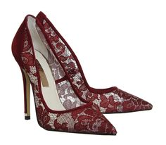 Office PREMIUM Betty Court Heels Burgundy Floral Lace - High Heels