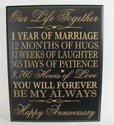 """1st Wedding Anniversary Wall Plaque Gifts for Couple, 1st Anniversary Gifts for Her,1st Wedding Anniversary Gifts for Him 12"""" W X 15"""" H Wall Plaque By Dayspring Milestones (Black) Dayspring"""