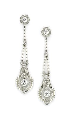 A Pair of Belle Epoqué Seed Pearl and Diamond Ear Pendants, circa 1910. Available at FD Gallery. www.fd-inspired.com