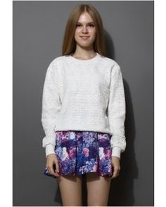 Chicwish Full Crochet Sweater in White