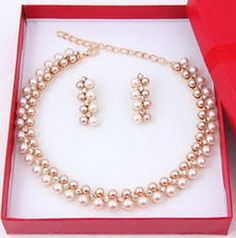 Pixel Jewelry 1985 - Fashion Women Pearl Necklace Earring Set Wedding Bride Gold Plated Jewelry set ** Click image for more details.