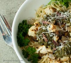 Anchovies and Pesto pair beautifully with a Piemontese Arneis in this pasta main dish