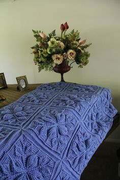 Embossed Leaves Blanket Crochet Pattern by Bonita Patterns: http://www.bonitapatterns.com/collections/miscellaneous