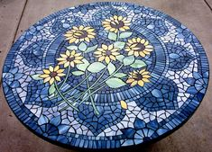 Sunflower Tablet, Table Mosaics, Sunflower Mosaic, Blue Mosaic, Mosaic Tables, Mosaic Sunflower, Artchive…