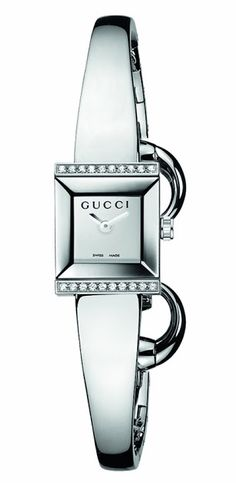9ab81f9df47 Gucci Womens G-Frame Square Steel Bangle Diamond Case Watch