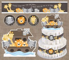 Baby Shower Decorations Noah's Ark Diaper Cake by WeeBabyShower
