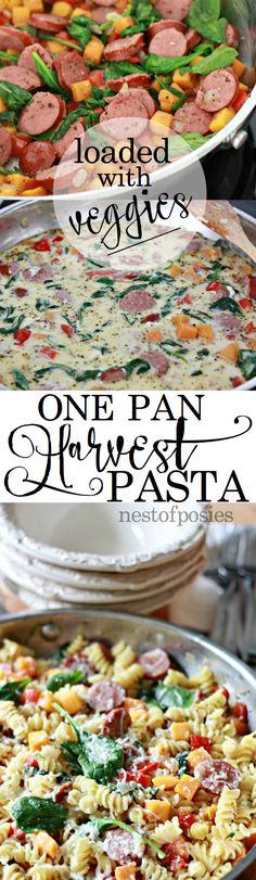 One Pan Harvest Pasta.  A hearty meal loaded with veggies that will feed your entire family in one pan!