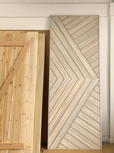 This custom modern design is a statement piece of functionality for your home. This door features a layered paint finish that looks amazing in your modern farmhouse. Wood Closet Doors, Modern Closet Doors, Wood Barn Door, Diy Barn Door Plans, Farm Door, Door Design Interior, Interior Barn Doors, Modern Wood Doors, Chevron Door