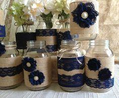 VENTA 10 x arpillera rústica y encaje azul marino por PinKyJubb