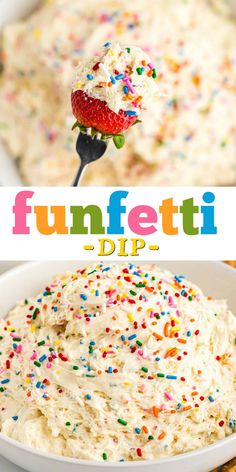With festive sprinkles and a classic white cake flavor, Funfetti Dip will make your next birthday party even sweeter. Grab some fruit slices and animal crackers and get ready to dip! Funfetti Kuchen, Funfetti Cake, Dessert Dips, Dessert For Dinner, Dessert Table, Unique Desserts, Holiday Desserts, Sweets Recipes, Dip Recipes