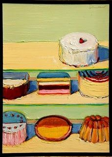 "Wayne Thiebaud, USA What an amazing career that's still going! Did I count 4 or 5 ""Honorary Doctorates"" in his Bio ? Needless to sa. Wayne Thiebaud Cakes, Wayne Thiebaud Paintings, Food Painting, Figure Painting, Richard Diebenkorn, Juan Sanchez Cotan, Pop Art Movement, Arte Popular, Gcse Art"