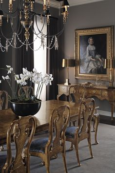 A traditional dining room from The Stately Homes Collection; Baker Furniture