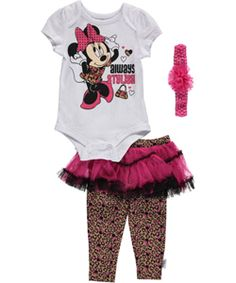"Minnie Mouse Infant Girls' ""Always Stylish"" 2-Piece Outfit with Headband - CookiesKids.com"