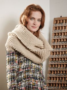 Clove Loop Scarf - Knit this garter stitch looped scarf from the Autumn Accessories Collection, a design by Marie Wallin using the beautiful yarn Big Wool (merino wool). The loop detail makes this scarf very cosy, this knitting pattern is for the beginner knitter.