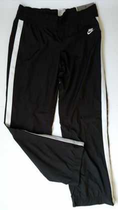 b129411da8b2 NWT Nike Women s Perfect Fit Black White Stripe Elastic Pants Sz Medium M  NEW