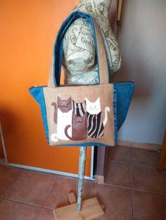 Autre sac chat sur jean et toile de jute
