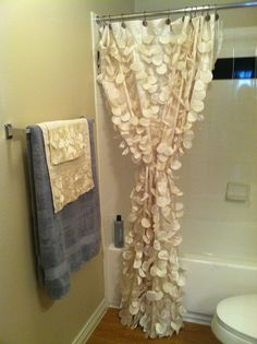 shower curtain inspiration! hot glue/sew faux flower petals