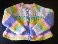 Handmade knitted baby girls multi coloured three by BulldogKnits, £25.00