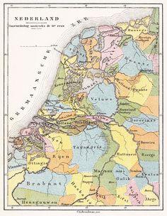 Brinkman Nederland Gouwverdeeling omstreeks de 10e eeuw 1890 - Gouw (Germaans)…