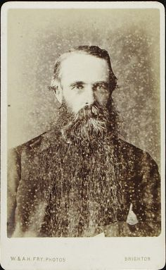 www.pastonpaper.com | Carte de Visite of Unidentified Bearded Male, Brighton, 1860s Facial Hair, Bearded Men, Beards, Old Photos, Brighton, Jon Snow, 19th Century, Game Of Thrones Characters, Fictional Characters