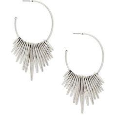 Steve Madden Dangling Fringe Open Hoop Earrings (68 BRL) ❤ liked on Polyvore featuring jewelry, earrings, silver, silver jewellery, silver tone jewelry, fringe earrings, steve madden and hoop earrings