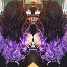 #purple #dipdye #brunette #longhair #curls #beauty #hairtips