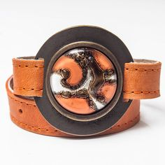 Clapton Bracelet Leather, metal and glass Handmade by Cristálida