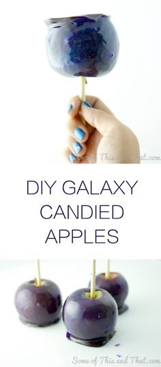 These shiny and shimmering DIY Galaxy Candy Apples are the ultimate cosmic treat. #Ad