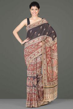 Stunning Black & Brown Chanderi Kalamkari Saree With Floral & Peacock Motifs In Horizontal Panels