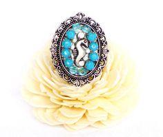 Mosaik Ring türkis hellblau Ring mit Seepferdchen von LonasART, €17.90