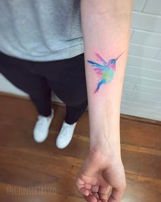 Watercolor hummingbird forearm piece