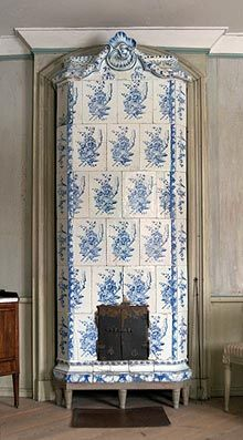 Tile oven stoves were often decorated with blue & white tiles.